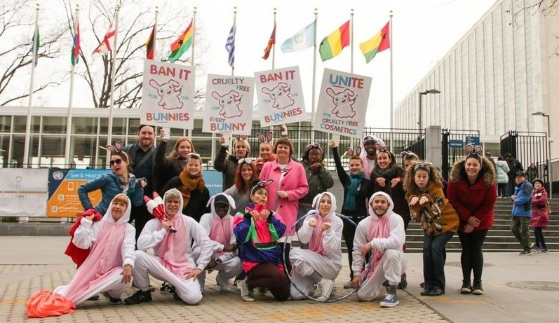 Cruelty Free International stages flash mob to launch bid for global ban of animal tested cosmetics